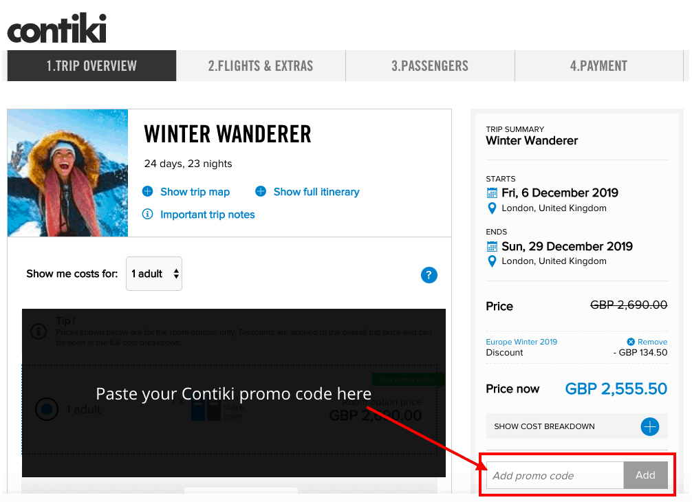 Image of the Contiki website showing where to paste the promo code when booking your tour online