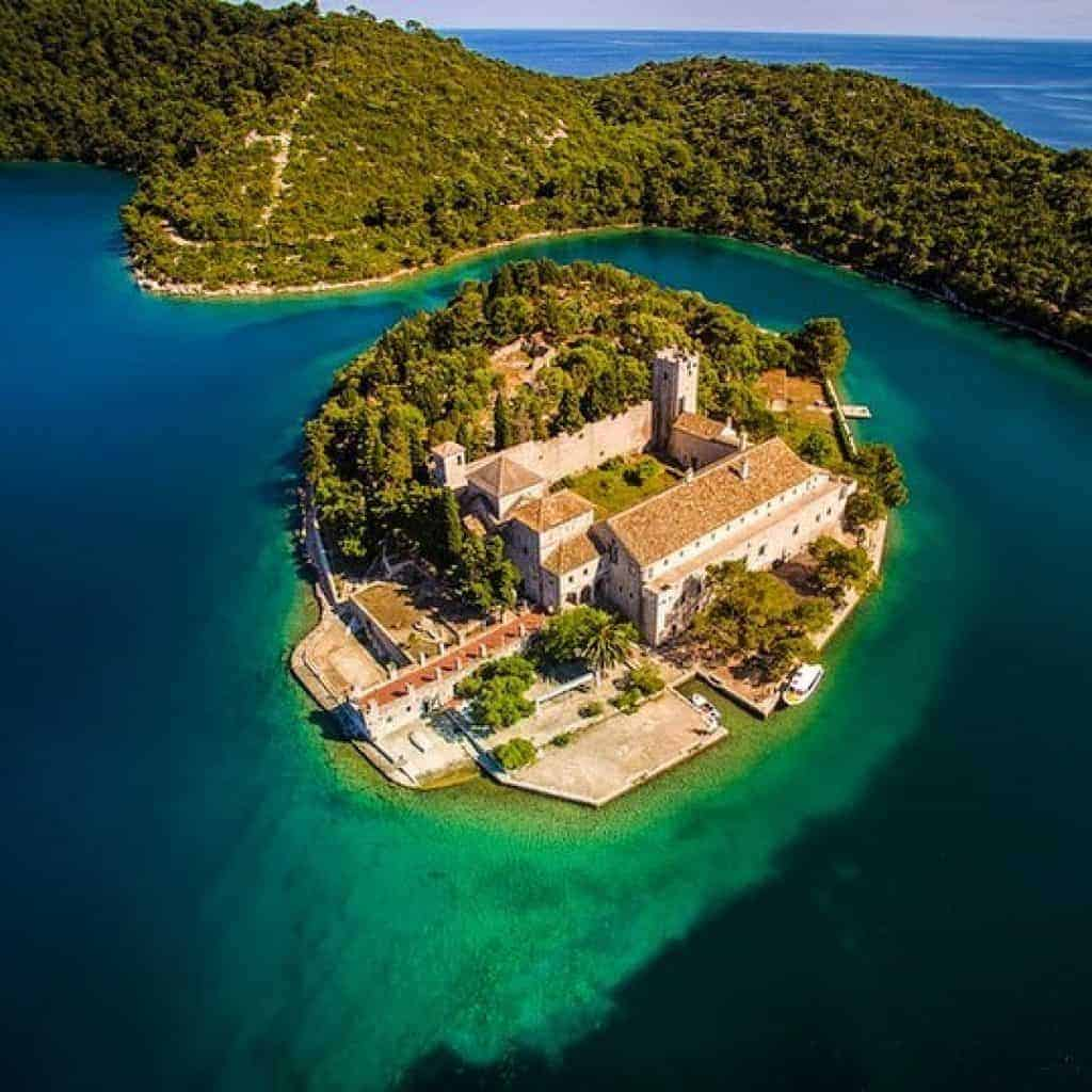 Aerial photo of St Mary's Island in Mljet National Park