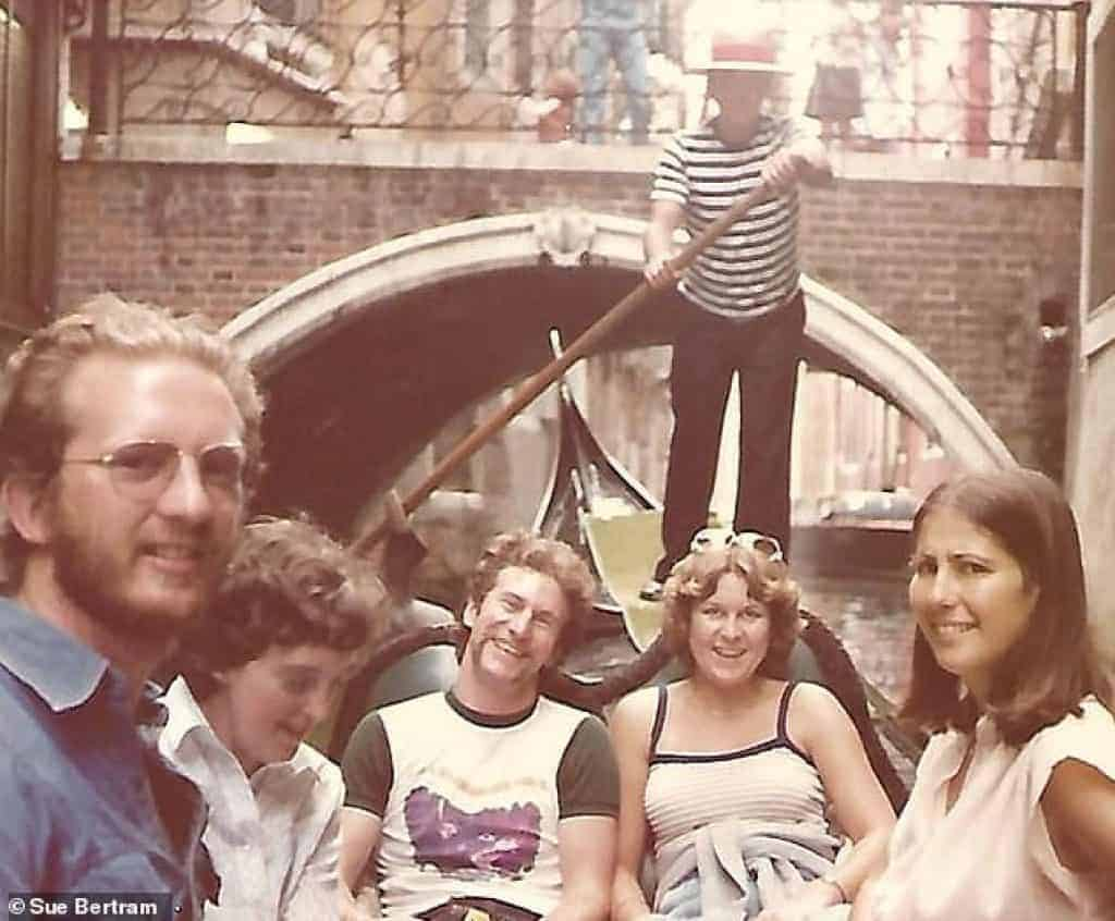 Group of young Contiki passengers in Venice in 1979